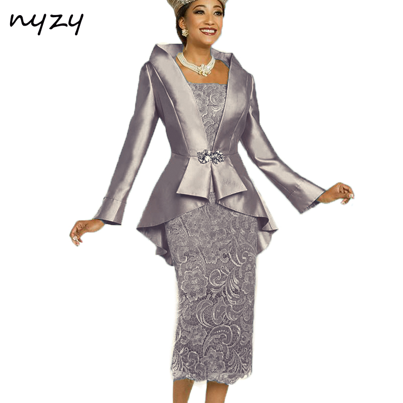 NYZY M23C 2019 Simple Elegant Formal Dress For Mother Of The Bride Outfits Two Piece Groom Mother Dress With Jacket Bolero Gray