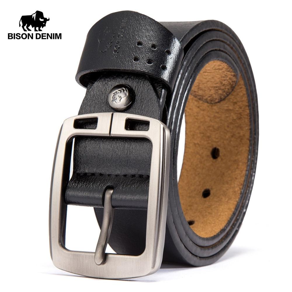 BISON DENIM Men's Belts Cowhide Genuine Leather Pin Buckle Belts Jeans Male Vintage Waistband Strap Leather Belt For Men N70781
