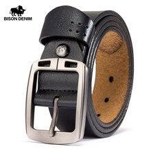 BISON DENIM Mens Belts Cowhide Genuine Leather Pin Buckle Belts Jeans Male Vintage Waistband Strap Leather Belt For Men N70781