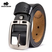 BISON DENIM เข็มขัดหนังวัวแท้เข็มขัดเข็มขัดเข็มขัดกางเกงยีนส์ชาย VINTAGE เข็มขัดเข็มขัดหนังสายหนังสำหรับชาย n70781