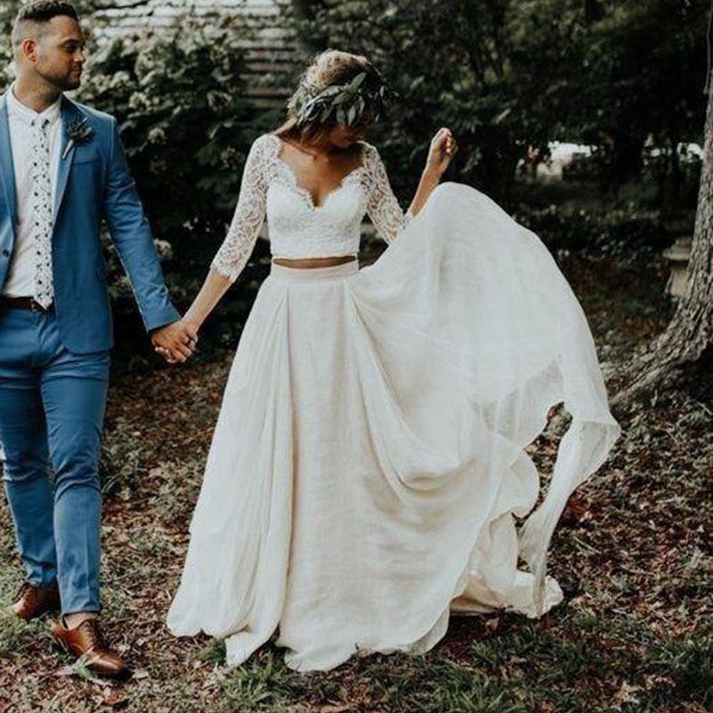 LORIE Boho Wedding Dress Long Sleeves A Line White Ivory Chiffon Lace Princess Beach Bride Two