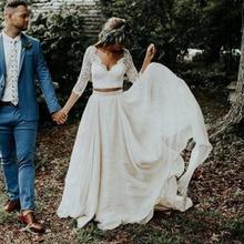 LORIE Bohemia boda Vestido 3/4 manga larga una línea chifón de marfil blanco encaje princesa playa novia dos piezas vestido de novia 2020 nuevo