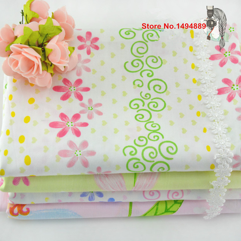Babys Bedding Cotton Fabric Cr-439 Attractive Appearance 1 Meter Flower Fairy 4 Designs To Choose 100% Cotton Twill Fabric With Blue Pink Flower