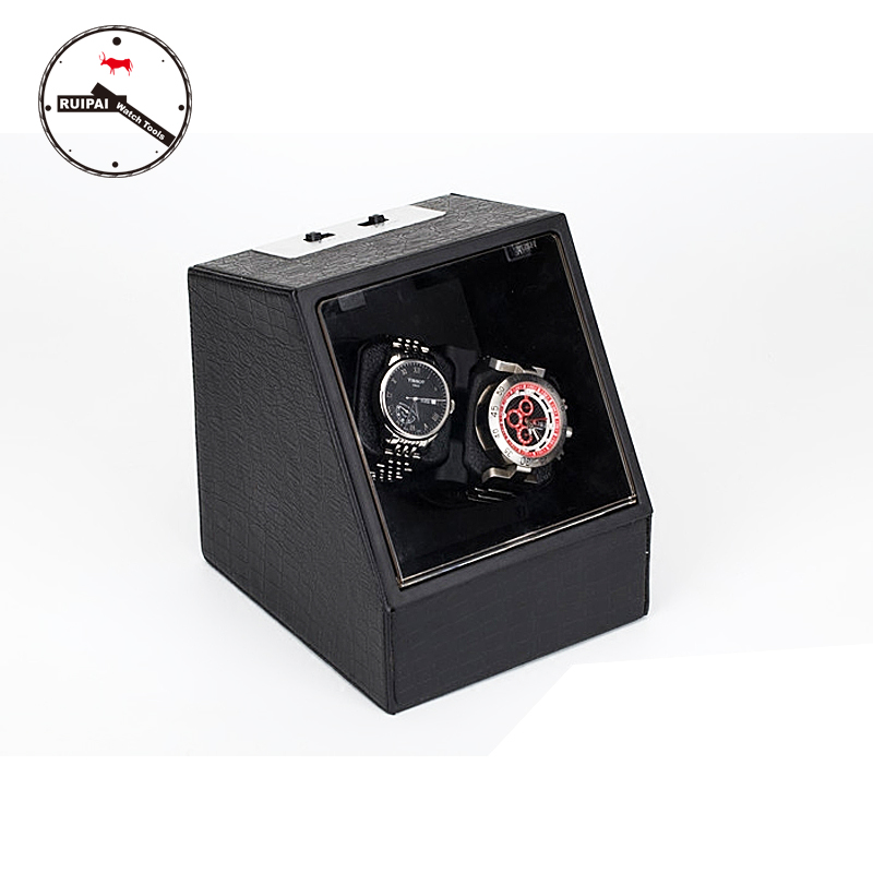 High-End  P0078-LE Leather 2 Seats Automatic Watch Winder for gift 2 3 green glossy suface pu inside automatic watch winder 5 modes wooden automatic watch winder