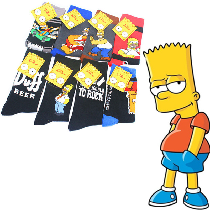 Anime Bartholomew Print Socks Homer Jay Duff Beer To Rock Cute Funny Personalized Cartoon Men Cotton Sock Comfort Breathable