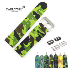 CARLYWET 22 24mm Camo Brown Light Green Black Waterproof Silicone Rubber Replacement Watch Band Strap Loops For Panerai Luminor