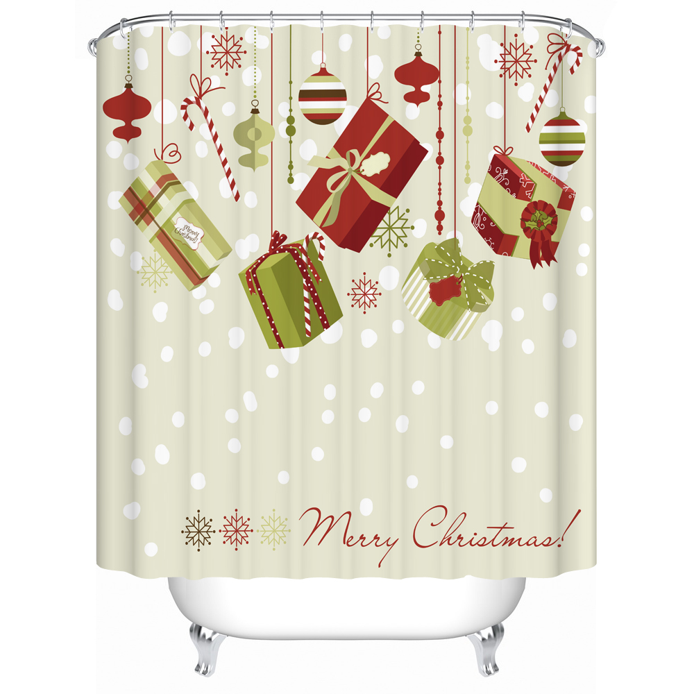 Christmas Shower Curtian 3d Fabric Waterproof Mold Resistant Curtain for <font><b>Kids</b></font> Bathroom Decor