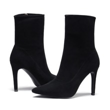 J958-2 casade shoes ladies fashion botines mujer black women booties genuine leather pointed toe stiletto high heels ankle boots