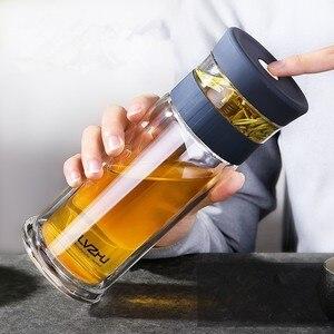 Image 1 - 400 мл портативная двухслойная стеклянная бутылка с сеточкой для заваривания чая и воды с фильтром крышки, автомобильная чашка, креативный подарок, стакан
