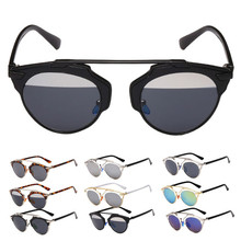 Women Men's Sunglasses 2017  Vintage Design Classic Reflective Sun Mirror Sunglasses Eyewear Cat Eye Glasses Gafas 8 Colors