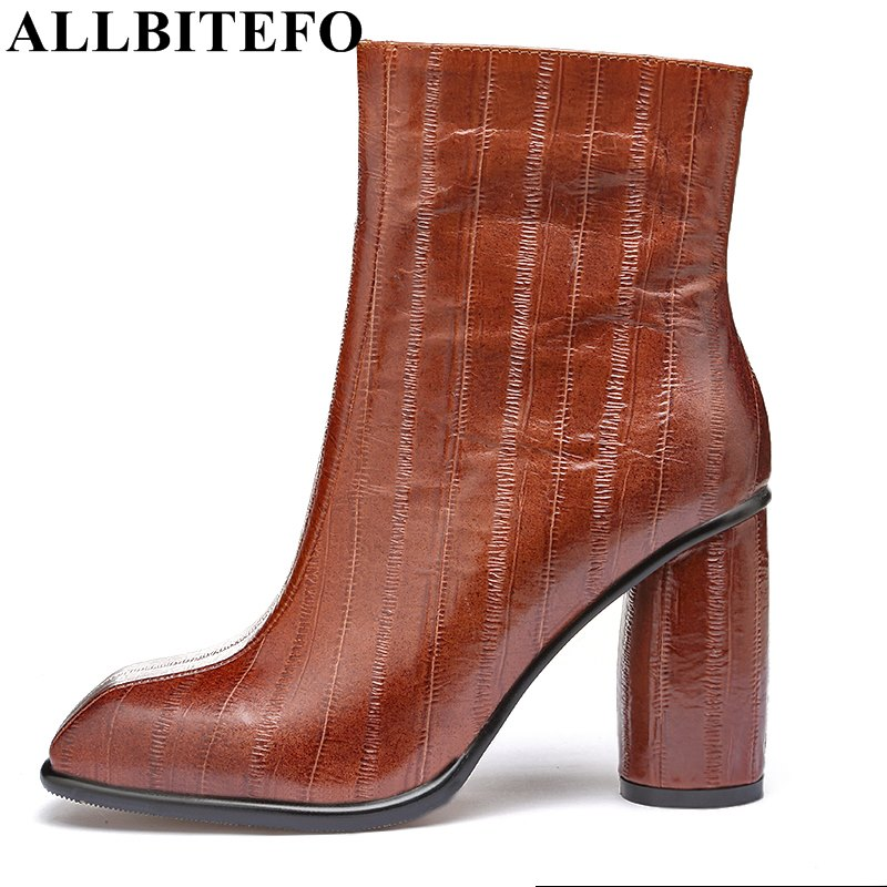 ALLBITEFO square toe full genuine leather high heel shoes women boots fashion thick heel anlle boots for woman bota de neve new arrival superstar genuine leather chelsea boots women round toe solid thick heel runway model nude zipper mid calf boots l63