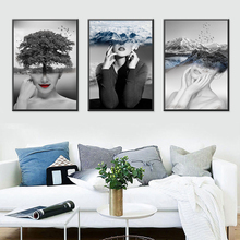 Abstract Wall Art Pictures Fashion Woman landscape White Black Modern Home Canvas Painting Beauty Posters Living room decor
