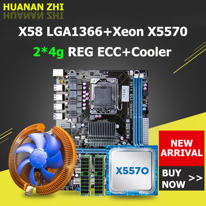 Promoção HUANAN ZHI X58 motherboard USB3.0 desconto X5570 LGA1366 motherboard com CPU Xeon 2.93 GHz RAM 8G (2 * 4G) DDR3 REG ECC