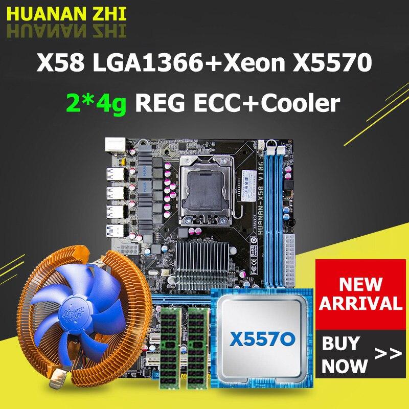 Promoción HUANAN ZHI X58 placa base CPU RAM combos con refrigerador USB3.0 LGA1366 placa base CPU Xeon X5570 RAM 8g (2*4g) DDR3 RECC
