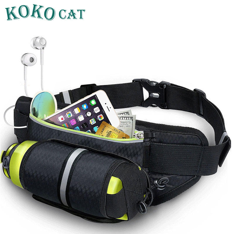 Hiking Waist Bag Fanny Pack With Water Bottle Holder For Men Women Running&Dog Walking Can Hold IPhone8 Plus Screen Size 6.5inch