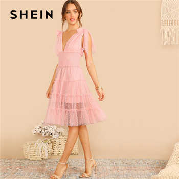 SHEIN Shoulder Knot Plunging Neck Mesh Lace Dress Women Romantic Sleeveless Deep V Neck Midi Dress A Line Pink Summer Dress - DISCOUNT ITEM  45% OFF All Category