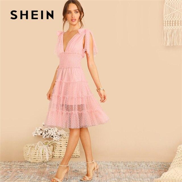 8da777496104 SHEIN Shoulder Knot Plunging Neck Mesh Lace Dress Women Romantic Sleeveless  Deep V Neck Midi Dress A Line Pink Summer Dress