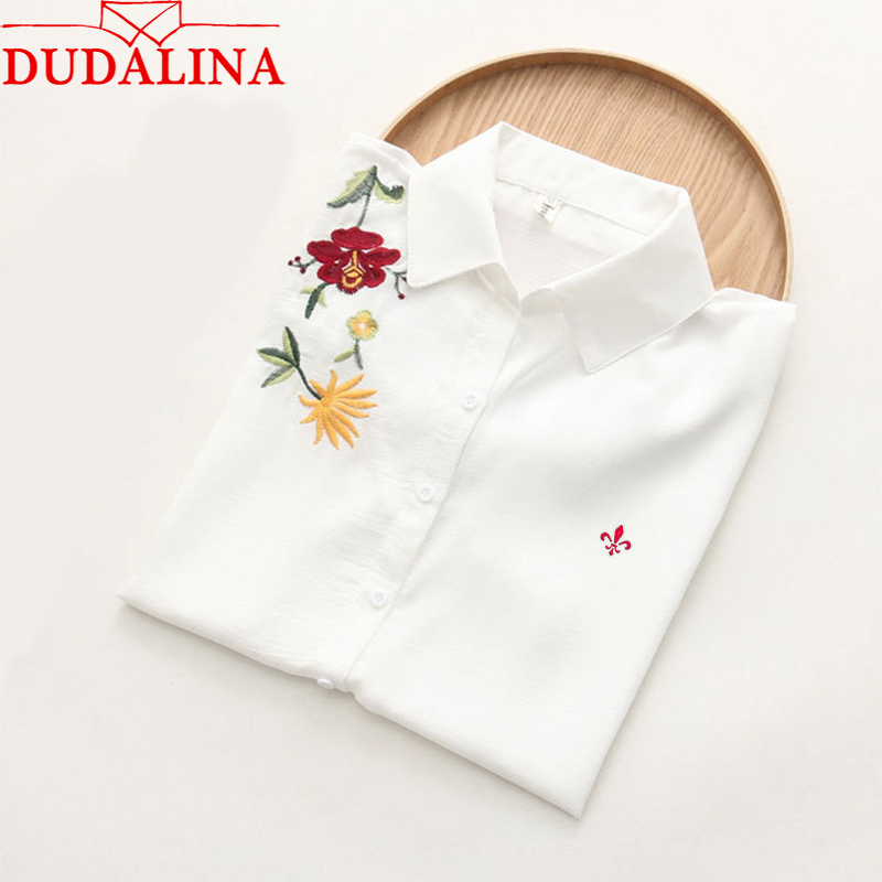 DUDALINA 2019 Fashion Embroidery Lady Shirt 2019 New Fashion Elegant Lady Shirt Women Short Sleeve Elegant Lady Shirt Size S-3XL