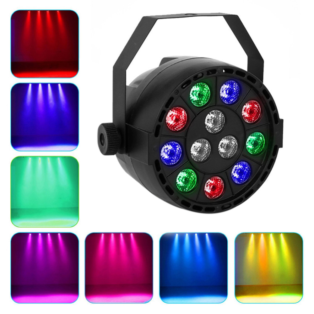 Stage Projector 12 LEDs RGBW Color Mixing Par Lamp 8CH Voice Activated Light Stage Party Projector Led Flat Holiday Light