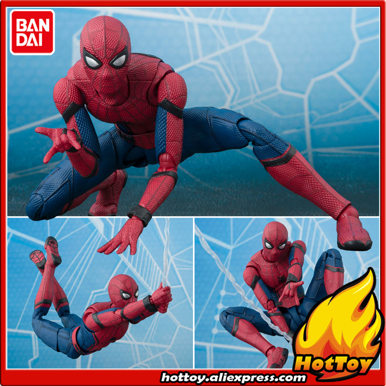 100% Original BANDAI Tamashii Nations S.H.Figuarts (SHF) Action Figure - Spider-Man (Homecoming) & TAMASHII OPTION ACT WALL anime captain america civil war original bandai tamashii nations shf s h figuarts action figure ant man