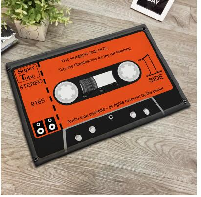 Fashion Style Vintage Music Record Printed Soft Flannel Rug Carpet Doormat Living Room Hall Way Mats