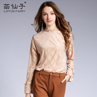 Spring Light Luxury Embroidery Striped Long Sleeve Lace Shirts Women Slim Clothing Female Blouses Elegant Vintage