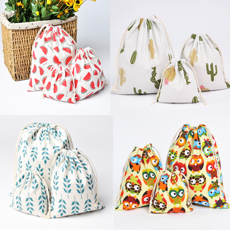 6 Color Casual Women Cotton Drawstring Shopping Bag Eco Reusable Folding Grocery Cloth Underwear Pouch Case Travel Home Storage