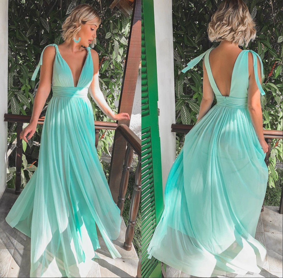 Sexy Deep V Neck Boho Mint Green Bridemaid Dresses 2019 Backless Formal Wedding Guest Dress Maid Of Honor Party Gowns