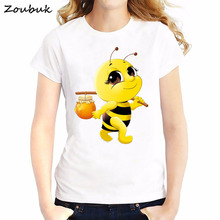 f8ee27c1a 2018 Fashion Bumble Bee Design women t-shirt funny t shirts white casual t-