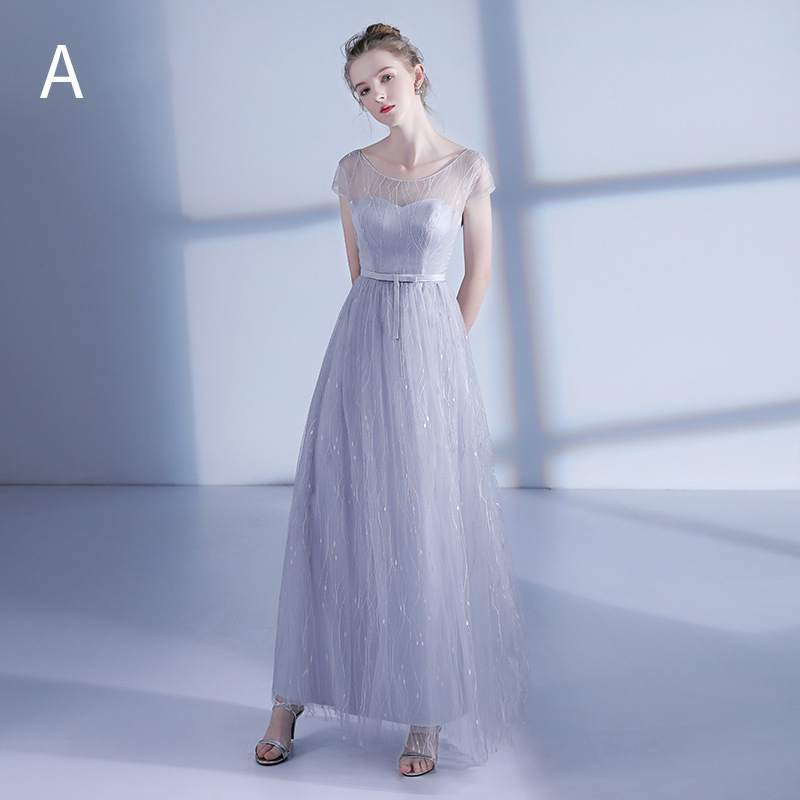 Mingli Tengda Long Lace O Neck   Bridesmaid     Dresses   2018 Gray A-Line Short Sleeves Lace Up Wedding Party   Dresses   vestido madrinha