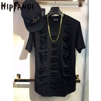 2016 Us Sudaderas Hombre Hip Hop T Shirt Streetwear Destroyed Hole Extended Tshirt Tee Swag Men