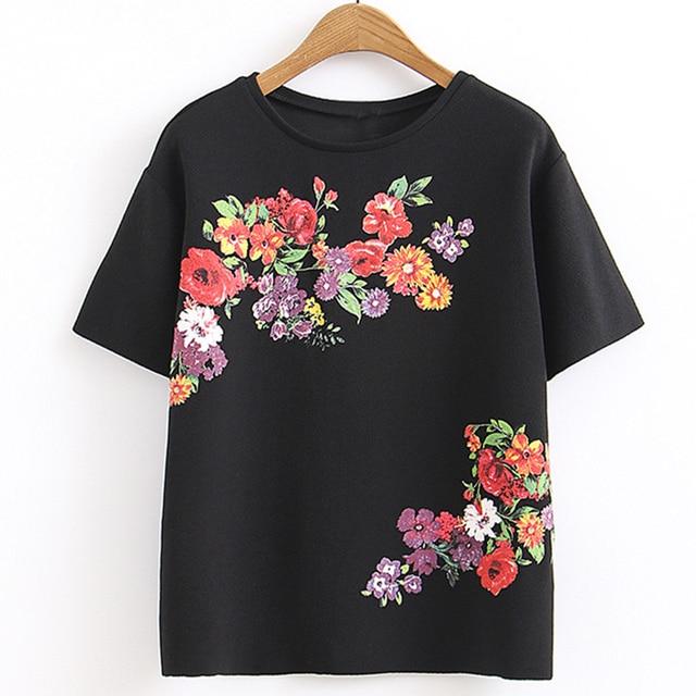 91656da808d US $16.19 10% OFF Womens Fashion Tees Zomer t shirt Tops Bloemen Print  Dames Zwart Tshirts Korte Mouw Schouder T shirt Groothandel in Womens  Fashion ...