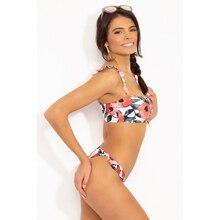 Floral Ruffle Hem Shoulder Girdle 2019 Two Piece Bikini Sexy Micro Thong Women Swimming Suit Swimwear Brazilain Beachwear