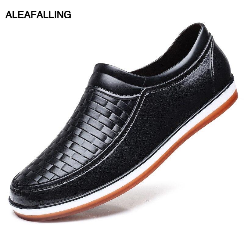Aleafalling Men's Rain Boots Waterproof Shoes Unisex Soft Sole Garden Kitchen Lady Smart Shoes Boy's Car Washing Shoes AW05