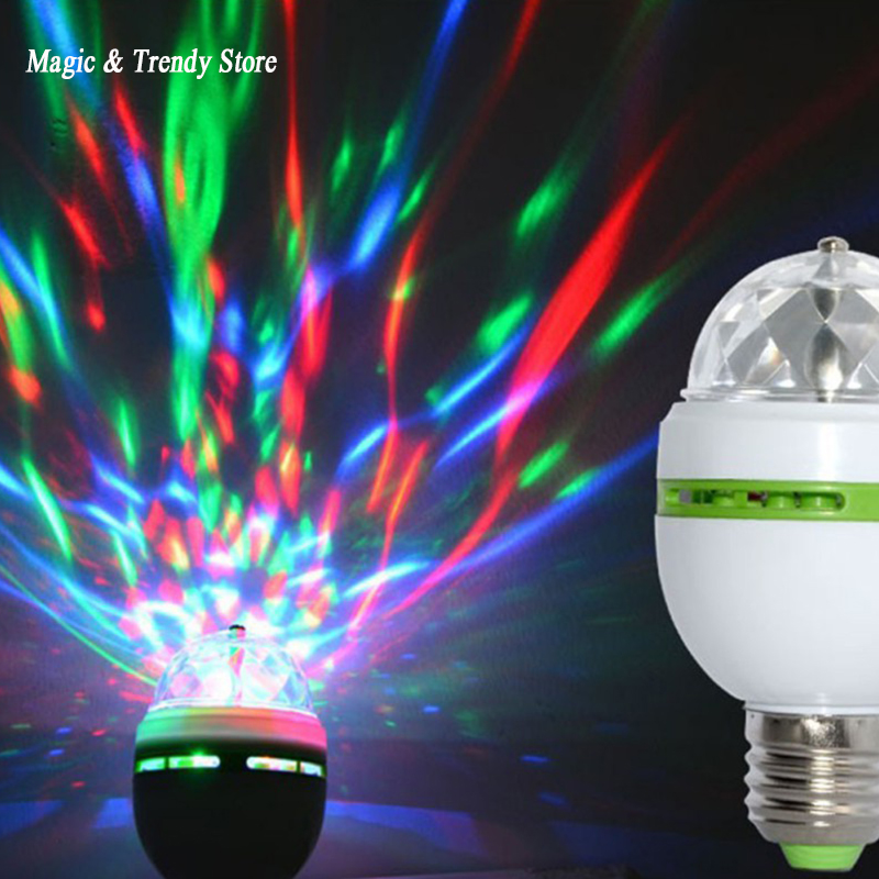 E27 3W Colorful Auto Rotating RGB LED Bulb Stage Light Party Lamp Disco for home decoration lighting lamps