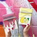Персонализированные моды соломы клубничное молоко коробки вышивка лимона цепи сумки на ремне сумки мини сумка дамы кошелек