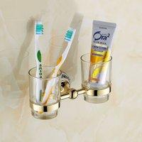 Bathroom Set Accessories Tumbler Holder Brush Cup Toothbrush Glass Double Gold Hardware Acessorios Bathroom Vasos Decorativos