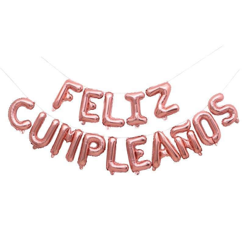 Espanhol feliz aniversário balões folha espanhol letra língua feliz festa decoração suprimentos bebê crianças balões de ar