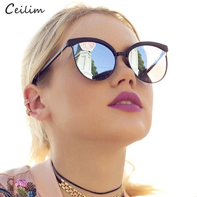 Occhiali da sole vintage Cat Eye per donna 2019 Nuovo design originale per signora di marca Occhiali da sole neri Specchietto retrovisore femminile