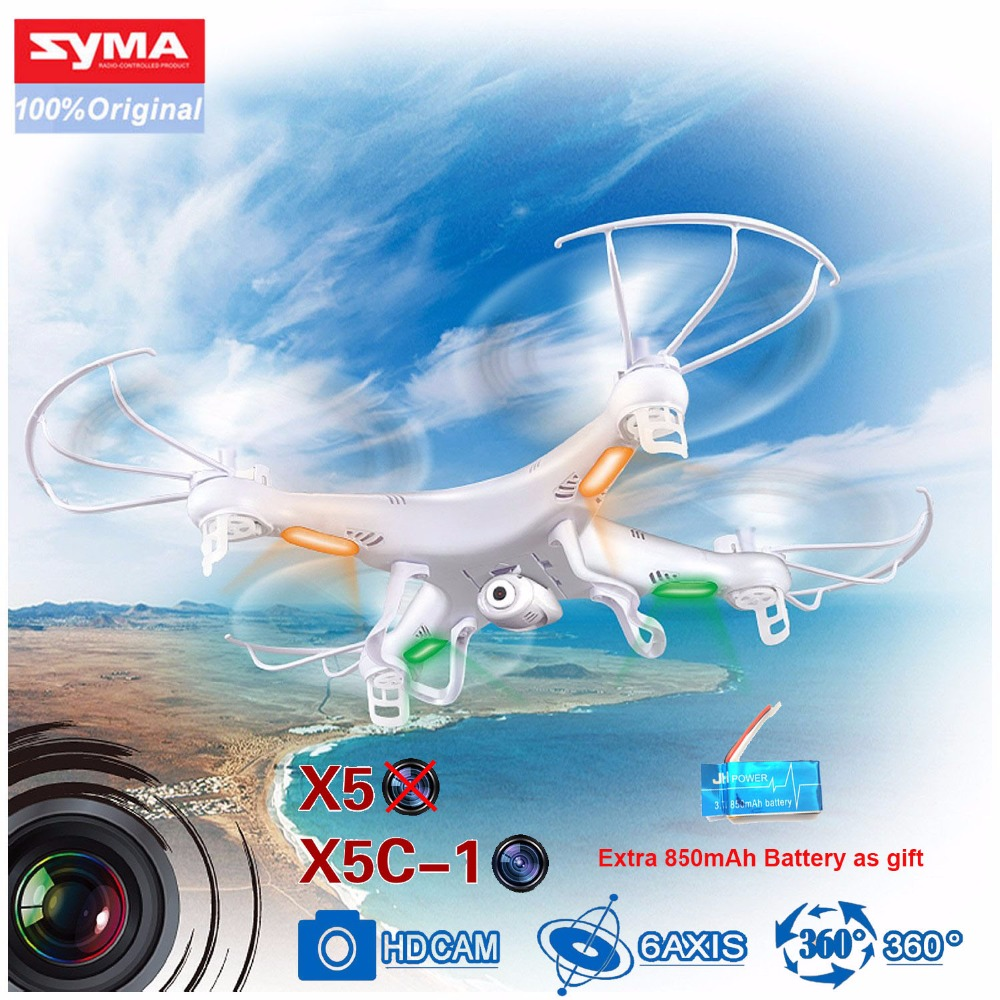 SYMA X5C-1 Syma X5C Syma X5 4CH 6-Axis Gyro RC Helicopter Drone With Flashing Ligh 2MP HD Camera + Extra 850mAh Battery as gift syma x5 x5c x5c 1 explorers new version without camera transmitter bnf