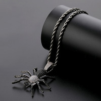 Iced Out Bling CZ Spider Pendants & Necklaces For Men Hip Hop Jewelry Charm Chains Gold Silver Color Dropshipping