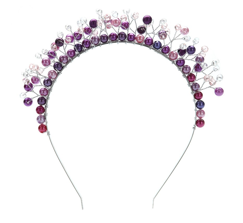 Trendy bridal headpiece - Hot New Trendy Charm Bridal Full Pearl Soft Tiara Purple Crown Wedding Accessory Hair Jewelry Crystal