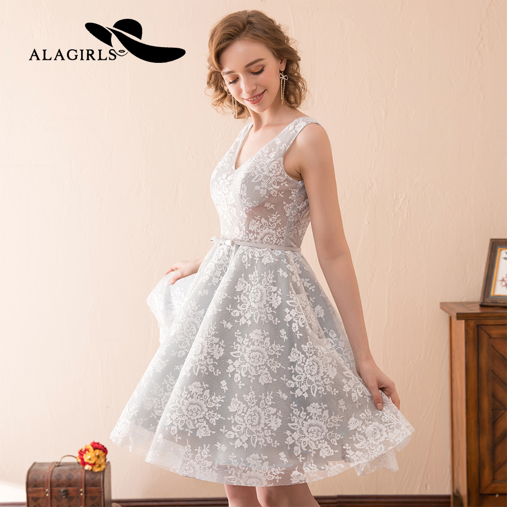 Alagirls 2019 New Arrival Mini Prom   Dresses   Sexy short lace Homecoming   Dress   V Neckline   Cocktail     dresses   Vestido de bienvenida