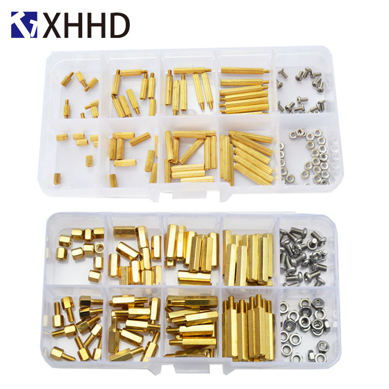 M4 Hex Male Female Brass Standoff Stud Board Threaded Hexagon Pillar PCB Motherboard Spacer Bolt Screw Nut Assortment Kit Mounting 120Pcs