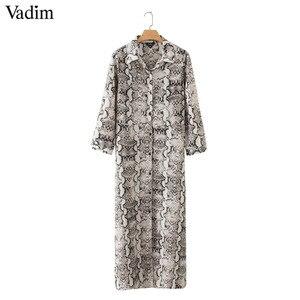 Image 3 - Vadim women snake print ankle length dress pockets long sleeve split pleated female casual chic dresses vestidos QA502
