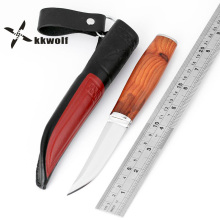 цена на KKWOLF Sharp Outdoor Hunting Knife Wood Handle Defense Tactical Combat Fixed Blade Knife Survival Multi-purpose Rescue Tool New