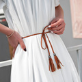 New Fashion Leather Tassel Waist Belt For Female Women's 120-130 cm Long Chain Hand-woven Waistband Belt Bow Thin Belt