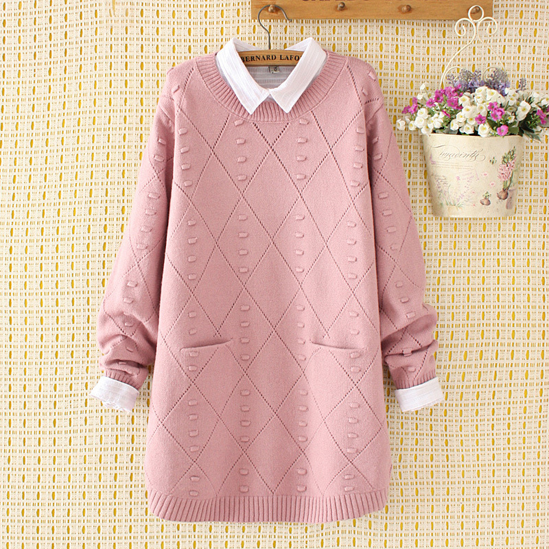 2018 winter s female department contracted loose fat hollow out the double pocket knit sweater