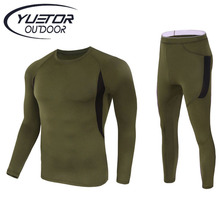 YUETOR outdoor tactical sports warm thermal underwear US army homme clothes military style men slim fleece t-shirt+pants suit