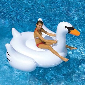 150CM 60 pulgadas Cisne gigante inflable paseo en la piscina juguete flotador Cisne inflable piscina natación anillo vacaciones diversión con agua piscina Juguetes